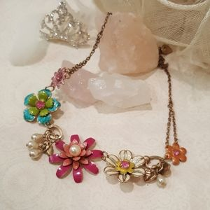 Pink Blue White Flower Necklace